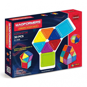 Magformers Rainbow Opaque Solid Set (30-pieces) Basic Magnetic Building Blocks, Educational Magnet