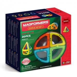 Magformers Curve (20-Pieces) Building Set Rainbow Colors Magnetic Building Blocks, Educational Mag