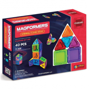 Magformers Basic Solid Clear Rainbow (40 Piece) Set Magnetic Building Blocks, Educational Magnetic