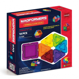 Magformers Rainbow Clear Solid Set (14-pieces) Basic Magnetic Building Blocks, Educational Magneti