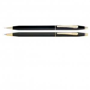 Classic Century Classic Black Pen and Pencil Set With 23K Gold Plated appointments