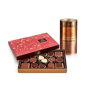Milk Chocolate Hot Cocoa Tin & Chocolate Biscuit Gift Box, 32 pc.