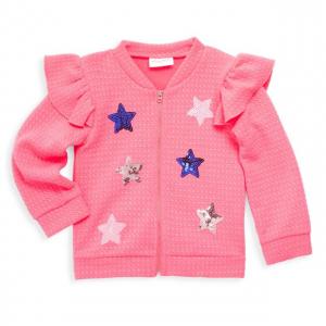 Kidding Around Little Girl's Sequin Star Ruffle Bomber Jacket