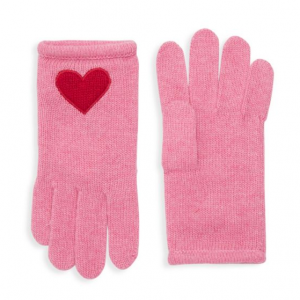Portolano Kids Girl's Knit Heart Patch Gloves