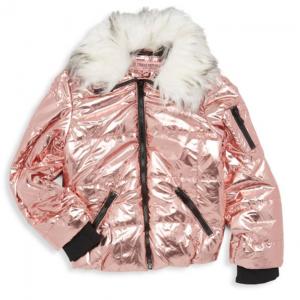 Urban Republic Girl's Faux Fur-Trimmed Metallic Puffer Jacket