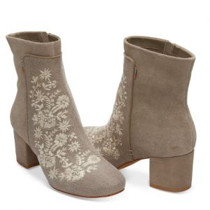 Desert Taupe Embroidered Heritage Canvas Women's Evie Booties