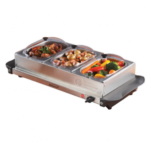 Brentwood 97092792M BF-315 Triple Buffet Server with Warming Tray