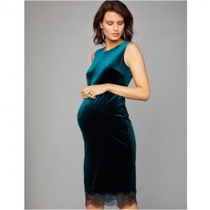 Lace Trim Velvet Maternity Dress
