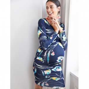 Side Ruched Long Sleeve Maternity Dress