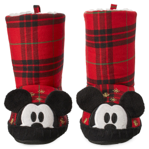 Mickey Mouse Plaid Holiday Slippers for Kids