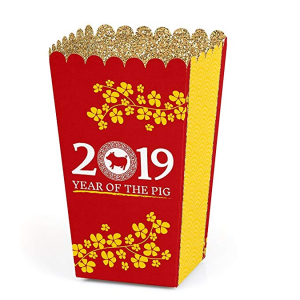 Chinese New Year - 2019 Year of The Pig Favor Popcorn Treat Boxes - Set of 12