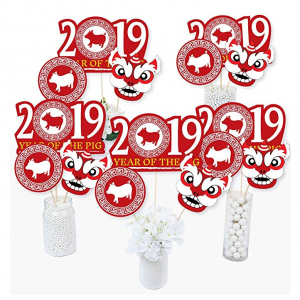 Chinese New Year - 2019 Year of The Pig Party Centerpiece Sticks - Table Toppers - Set of 15