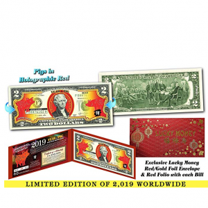 2019 Chinese New Year OFFICIAL $2 US Bill YEAR OF THE PIG Red Hologram LTD 2019