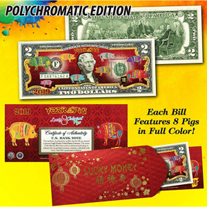 2019 CNY Lunar Chinese New YEAR OF THE PIG Polychromatic 8 Pigs $2 U.S. Bill RED