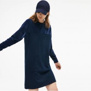 Lacoste WOMEN'S BIMATERIAL VELOUR AND TERRYCLOTH JERSEY SWEATSHIRT DRESS