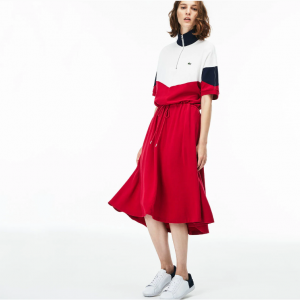 Lacoste WOMEN'S FITTED COLORBLOCK TERRYCLOTH PIQUÉ POLO DRESS