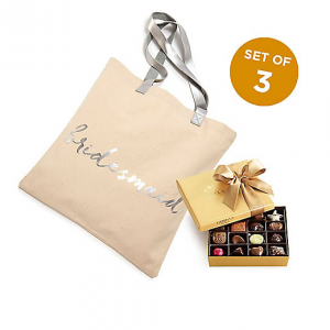 Bridesmaid Tote Bag with Assorted Chocolate Gold Gift Box, 19 pc., Set of 3