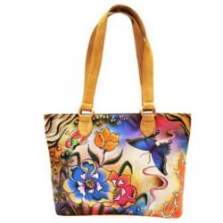 Blue & Pink Floral Hand-Painted Leather Tote