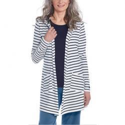 White & Navy Stripe Open Cardigan - Women