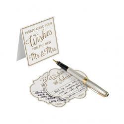 Ivory Wedding Wishes Card - Set of 48