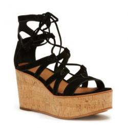 Black Heather Suede Gladiator Sandal - Women