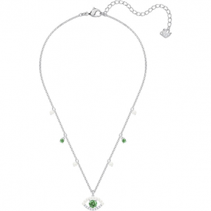 LUCKILY NECKLACE, GREEN, RHODIUM PLATING
