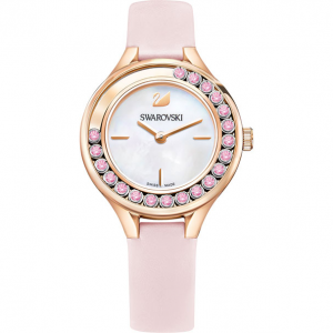 LOVELY CRYSTALS MINI WATCH, LEATHER STRAP, PINK, ROSE GOLD TONE