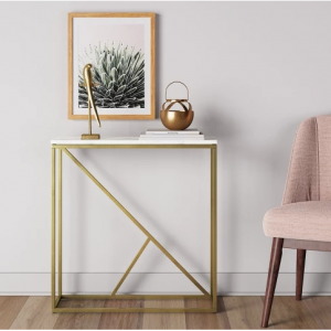 Highfield Console Table White Marble/Brass - Project 62