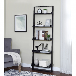 "$49 Mainstays 70"" 5-Shelf Leaning Ladder Bookcase, Espresso @ Walmart"