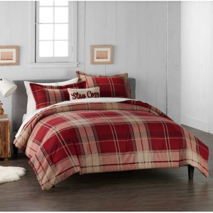 Cuddl Duds Home Red Plaid 4-piece Flannel Comforter Set King