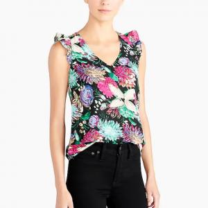 Printed sleeveless ruffle top