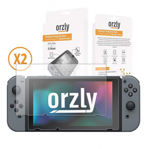 Orzly Glass Screen Protectors compatible with Nintendo Switch