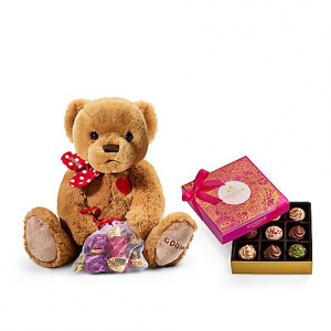 Valentine's Day Cupcake Inspired Chocolate Gift Box with Plush Teddy Bear