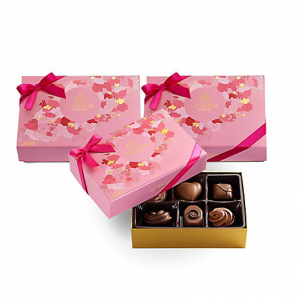 Valentine's Day Assorted Chocolate Gift Box, Set of 3, 6 pc. each