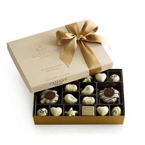 White Chocolate Assortment Gift Box, Classic Ribbon, 24 pc..