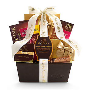 Chocolate Celebration Gift Basket, Personalized Ivory Ribbon Chocolate Celebration Gift Basket, P