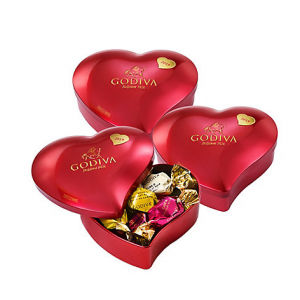 2019 Collectors' Edition Valentine's Day Chocolate Heart Tin, Set of 3, 12 pc. each