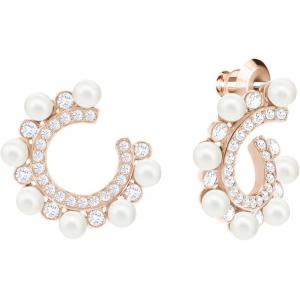 Major Pierced Earrings, White, Rose Gold Plating