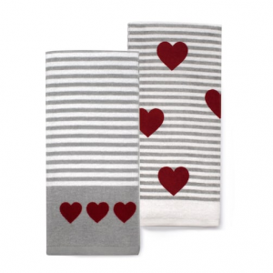 Celebrate Valentine's Day Together Striped Heart Kitchen Towel 2-pack