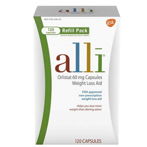 $8 off alli Diet Pills for Weight Loss, Orlistat 60 mg Capsules, Refill Pack 120 count @ Amazon