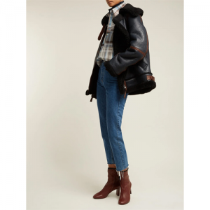 Panelled shearling jacket