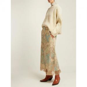 Fringed floral-print A-line skirt