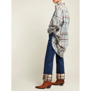 Checked-cuff straight-leg jeans