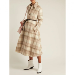 Checked belted A-line coat