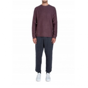 Oliver Spencer Robin Crew Knit in Oakwell Red and Charcoal