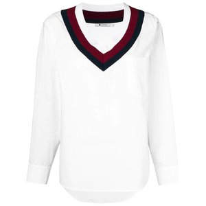 T BY ALEXANDER WANG varsity striped poplin shirt