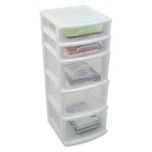 Homz 5-Drawer Medium Storage Tower - White