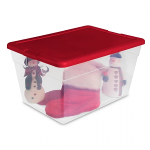 Sterilite 56qt Box - Clear with Red Lid