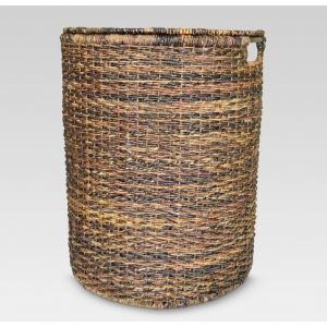 "25""x13""x20"" Wicker Hamper - Dark Global Brown - Threshold"