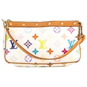 LOUIS VUITTON White Multicolore Monogram Canvas Pochette Accessoires Bag